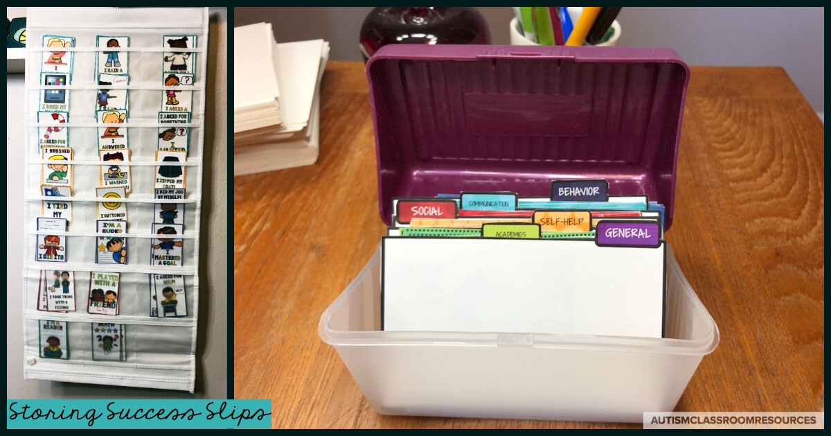 Easy solutions in special education are only easy if they are manageable and organized. Success Slips come with dividers for storing the smaller sizes and you can find more suggestions about storing them in this post. What are Success Slips? Find out everything you need to know in this post to get started sending positive home-school communication notes quickly and easily. #successslips #homeschoolcommunication #homenotes