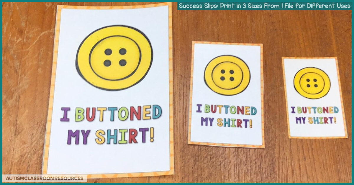 If you are a special education teacher, speech therapist, or other provider trying to build relationships with your students' families, Success Slips are a great tool to have on hand. You can quickly and easily send home positive notes about a student's small accomplishments to families so they can celebrate them too. And you can print them in multiple sizes depending on how you want to use them. Check out this post for more details. #successslips #homeschoolcommunication
