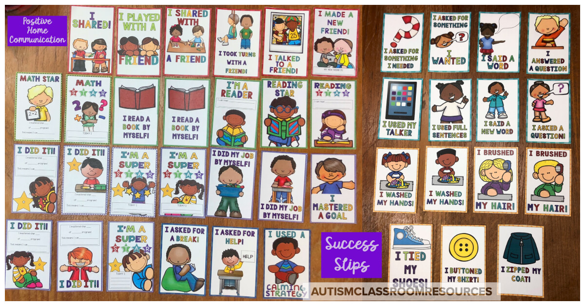 This first set of Success Slips are a great tool for sending home quick positive notes about students' progress in academics, self-care, behavior, social skills, communication, and independence. Print them out and grab one at the end of the day when a student mastered a step in a teaching program. Attach it to his backpack and send it home for parents to celebrate and reinforce. Find out more about Success Slips and ways to use them in this post.