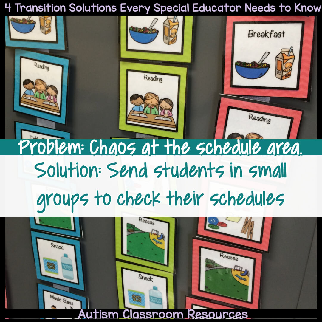 Do you have chaos in the transition area or schedule area of your classroom at times? One solution is to send students in small groups of 1 or 2 at a time.. Read the post to find out how to make this work and 3 other solutions to transitions that can help.