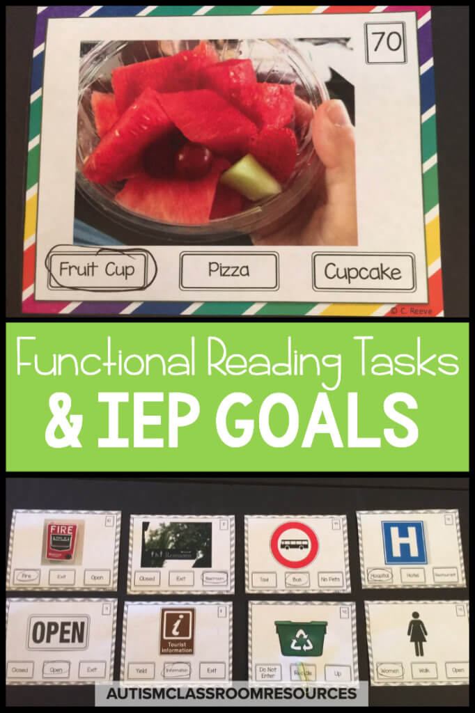Using environmental print to navigate the world and interact with others is a critical life skill. Sometimes it's easy to get stuck on the IEP goals and how to write them effectively. This post talks about how to teach meaningful, practical and functional sight words to students with all types of disabilities. It also provides you with IEP goals that you can think about and modify as needed for your students. Finally it points you in the direction of ready-made resources you can use for that instruction in your special ed classroom.