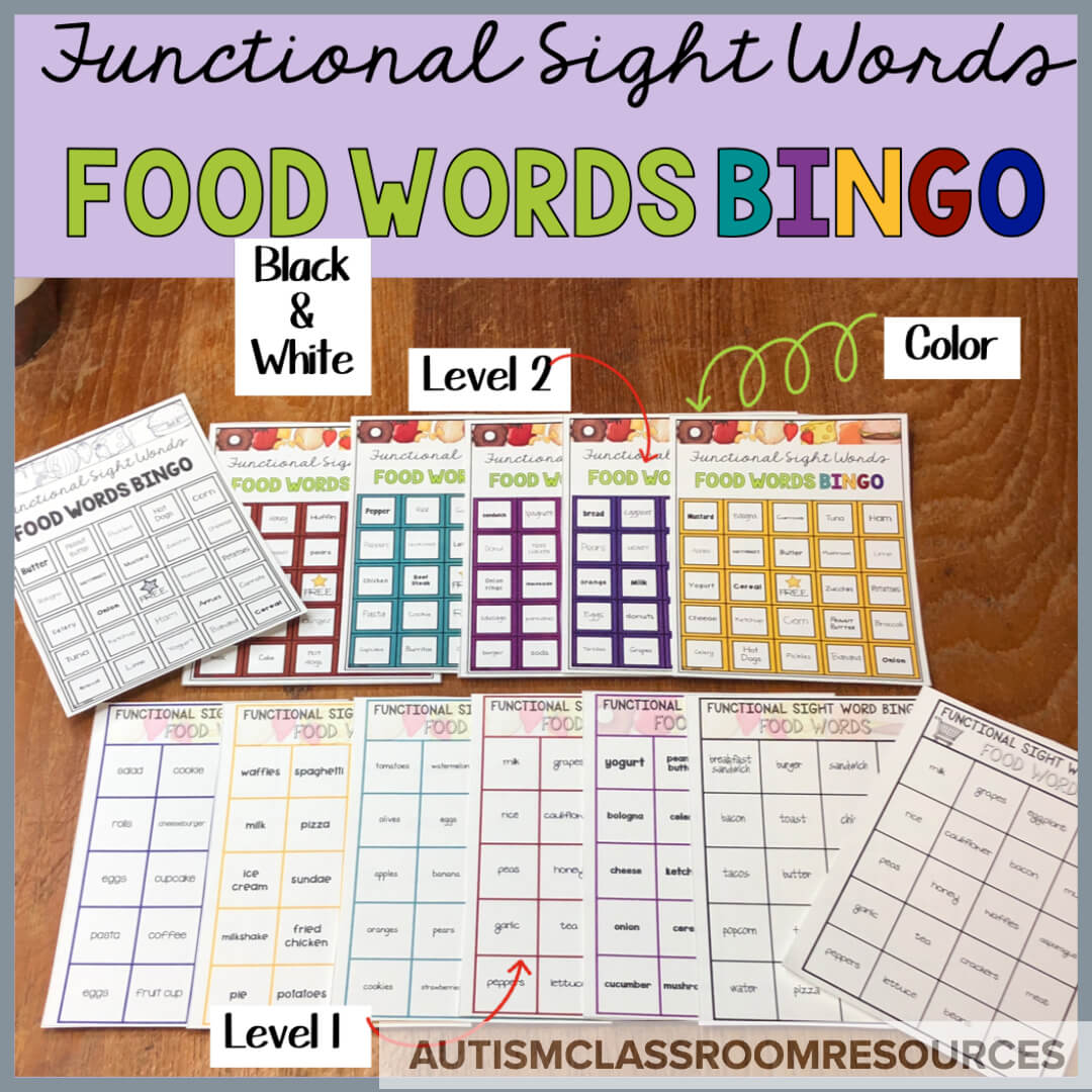 Food Word BINGO is part of the Functional Sight Word Reading series designed to provide engaging ways for students learning life skills to practice reading comprehension. There are 2 levels, each covering 100 words related to grocery or restaurant words. Check out this post for ideas of how they can be used in the classroom.