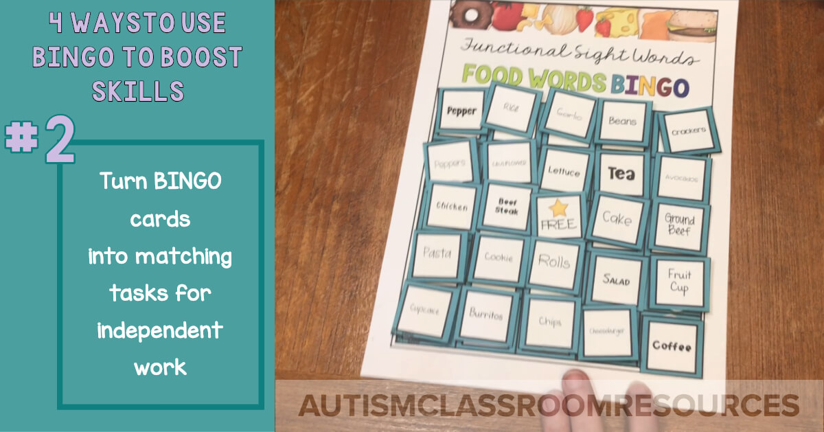 BINGO games can make great work baskets or independent work tasks for matching. Just cut the calling cards apart and add Velcro. This blogger is sharing 3 other strategies for using BINGO in the classroom to increase generalization and maintenance of skills.