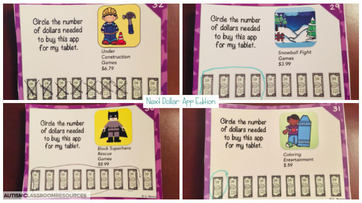 How Many Dollar task cards designed to have students use next dollar up to determine if they can purchase apps.  Motivating and functional is always a killer combination.  Perfect for life skills classrooms.  This blogger is sharing more tips and ideas on teaching next dollar in this post.