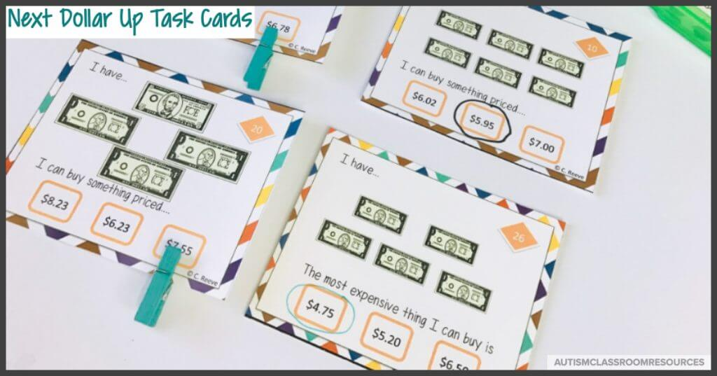 Next dollar up task cards are great for practicing whether students have enough money to make a purchase.  They are given a specific amount of money and have to indicate what they could buy.  Perfect for independent work and instruction.
