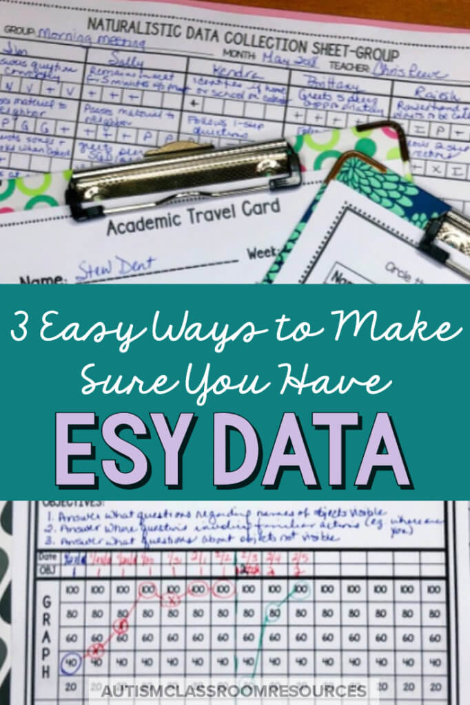 Data is a key measure in determining qualification for extended school year services. Soooo, taking data during the year becomes really important to be able to determine if skills are lost over breaks. But that doesn't mean it has to overwhelm you. This post has 3 easy ways to make sure you have that data to monitor the progress of your students. #datacollection #specialeducation