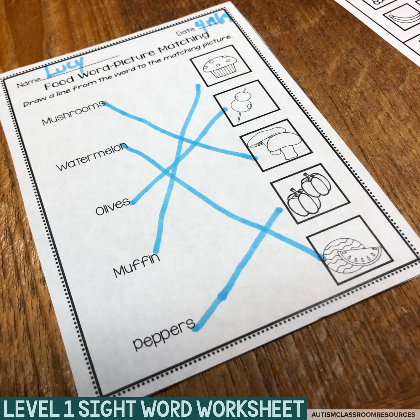 Level 1 sight word worksheets are designed to just practice matching common functional sight words to their corresponding pictures. Text and pictures are clear and make for easy photocopying for prep. Find out more about how these can help with life skills functional reading with your students in this post.