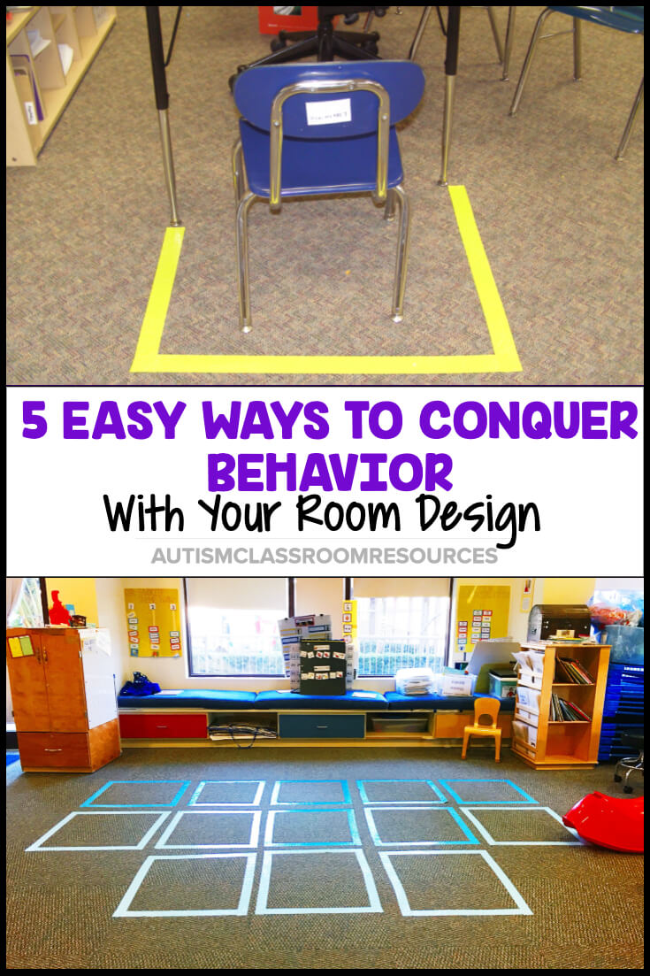 What if addressing challenging behavior in your classroom could be as simple as making changes to your room design? Here are some simple tricks that can help you prevent or address behaviors with their warning signs and solutions. #roomdesign #specialeducation