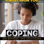 When distance learning is thrust upon you: Coping for families and educators [girl with headphones at the computerr]