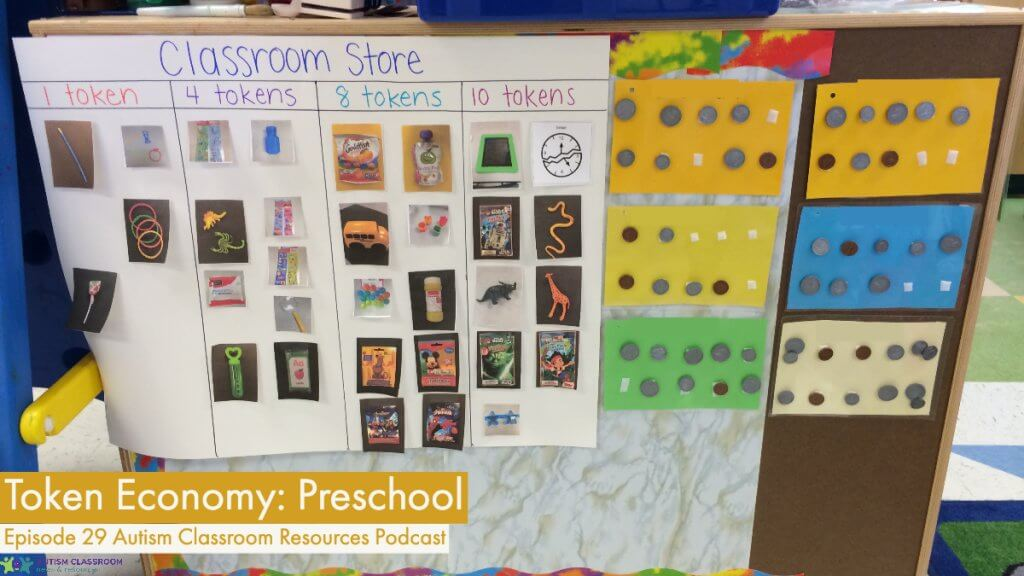 A token economy for a preschool classroom. Includes the store and the cards for token boards. Students can exchange for 1 through 4 tokens.