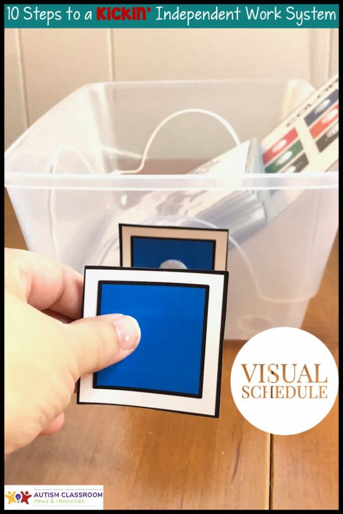 hand putting schedule visual on front visual on basket-Visual Schedule. 10 Steps to a Kickin Independent Work System
