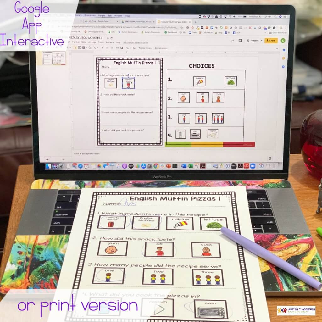 Cooking activities with student interactive components in Google apps or in print