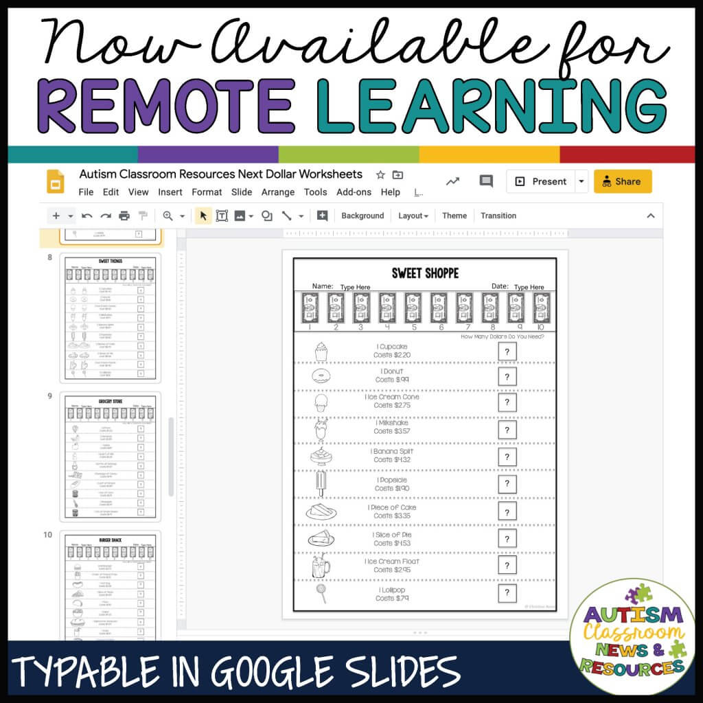 Next dollar worksheets now available for remote learning in Google Apps
