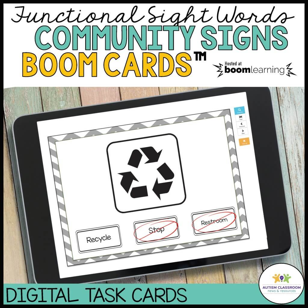 Functional sight words Community Signs Boom Cards. Hosted by BOOM Learning. Digital Task Cards from Autism Classroom Resources