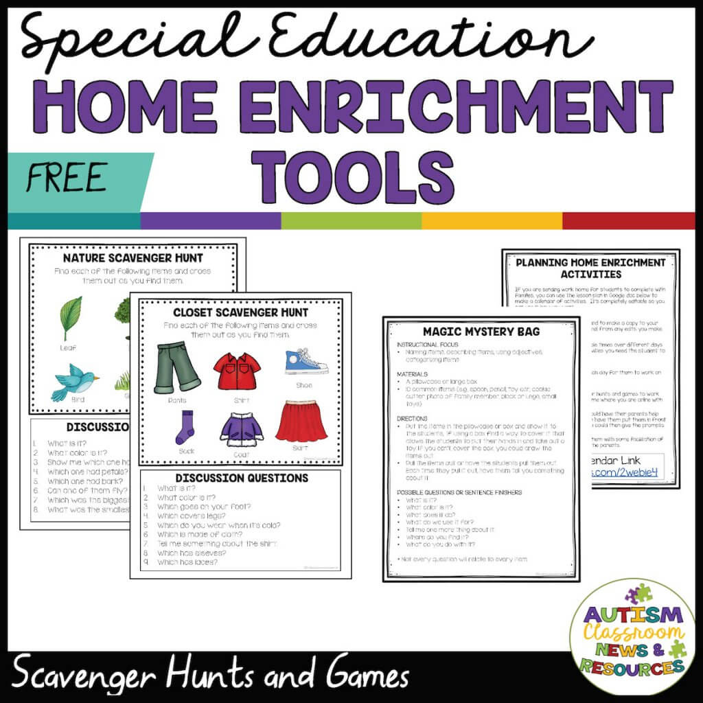 Special Education Home Enrichment Tools. Picture of 2 scavenger hunts with pictures and 2 lesson plans for encouraging language in games. From Autism Classroom Resources