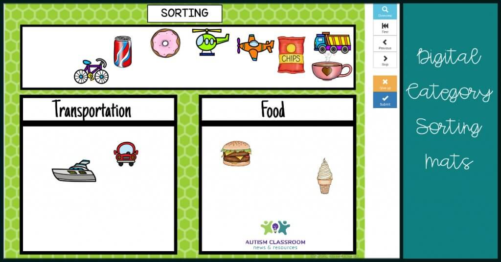 Digital Sorting Mats Categories. [a sorting task with items in transportation and food categories)