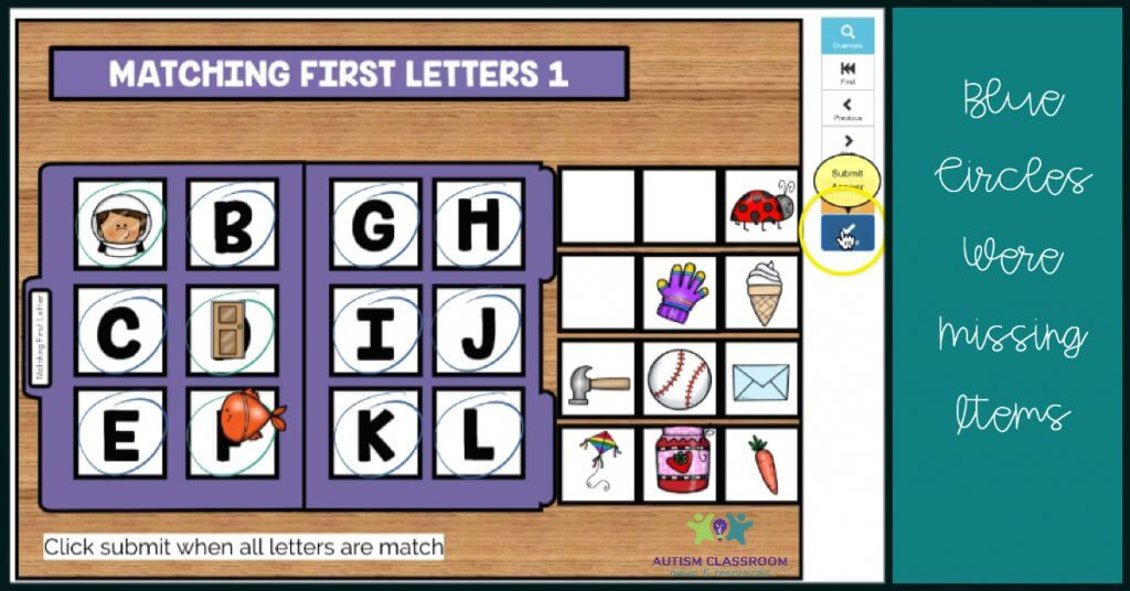 digital boom card matching activity with blue circles showing where items were not completed.