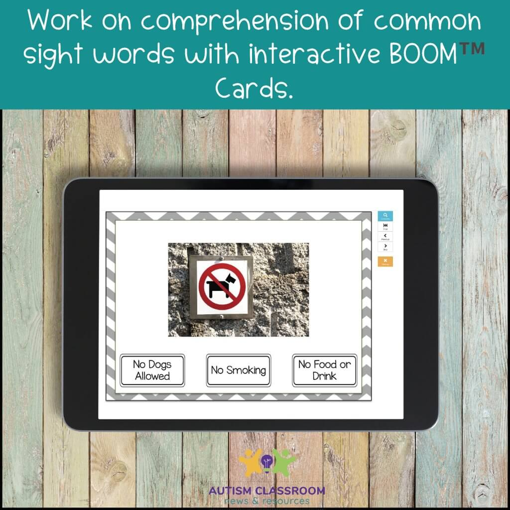 Work on comprehension of common sight words with interactive BOOM™️ Cards.