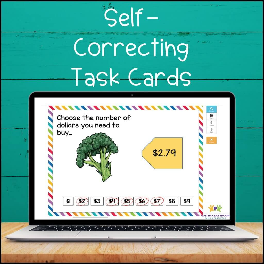 self-correcting task cards. Next Dollar Boom Card Task Cards.