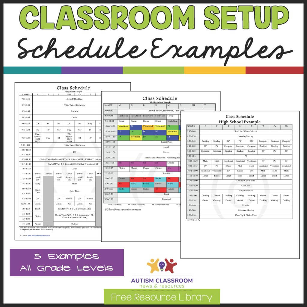 classroom setup schedule examples. 5 Free Special Ed Classroom Schedules for all ages.