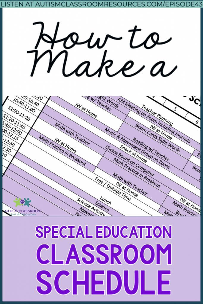 How to make a special education classroom schedule. A picture of a schedule grid
