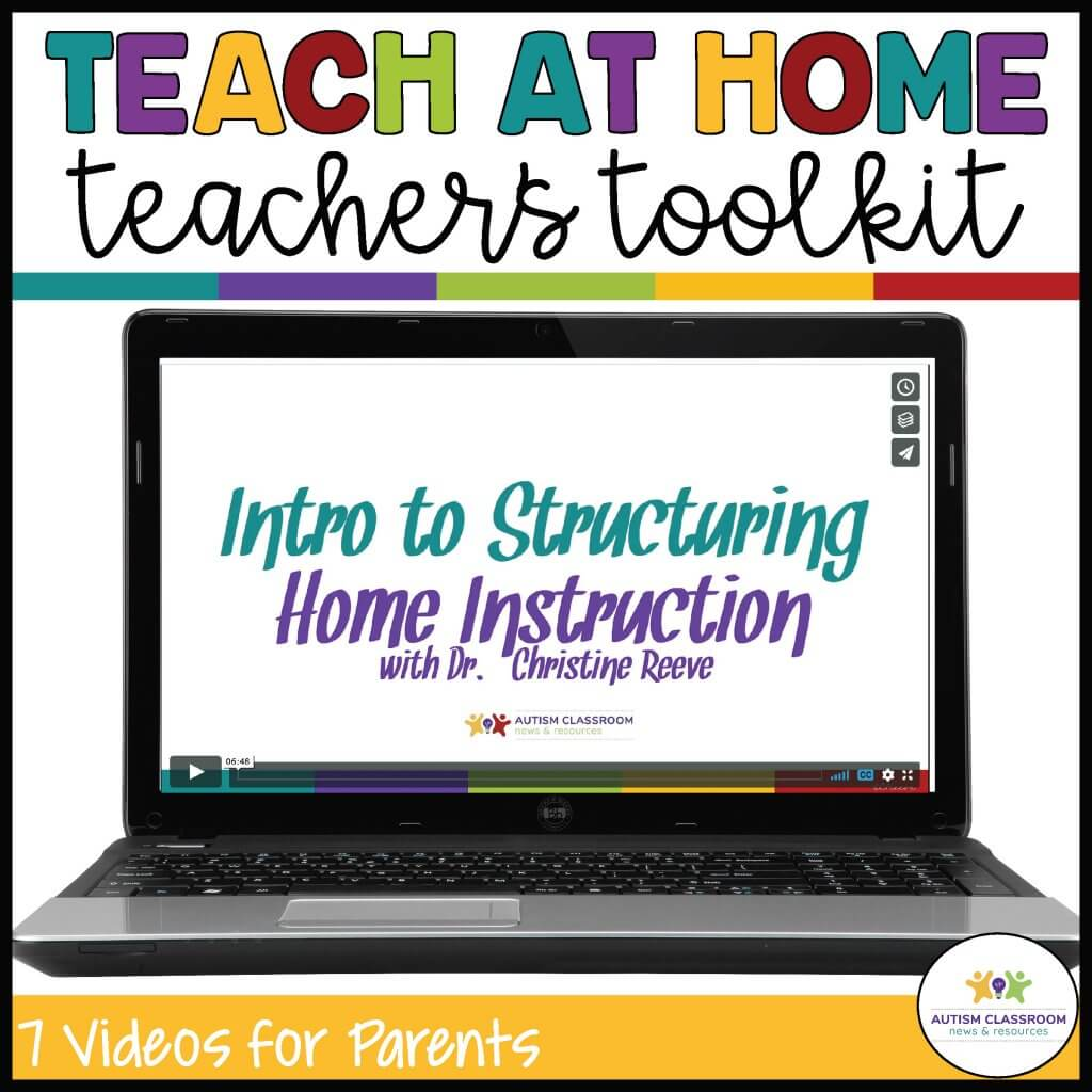 Teach at Home teachers toolkit. Laptop with video of Intro to Structuring Home Instruction: 7 Videos for Families and Digital tools