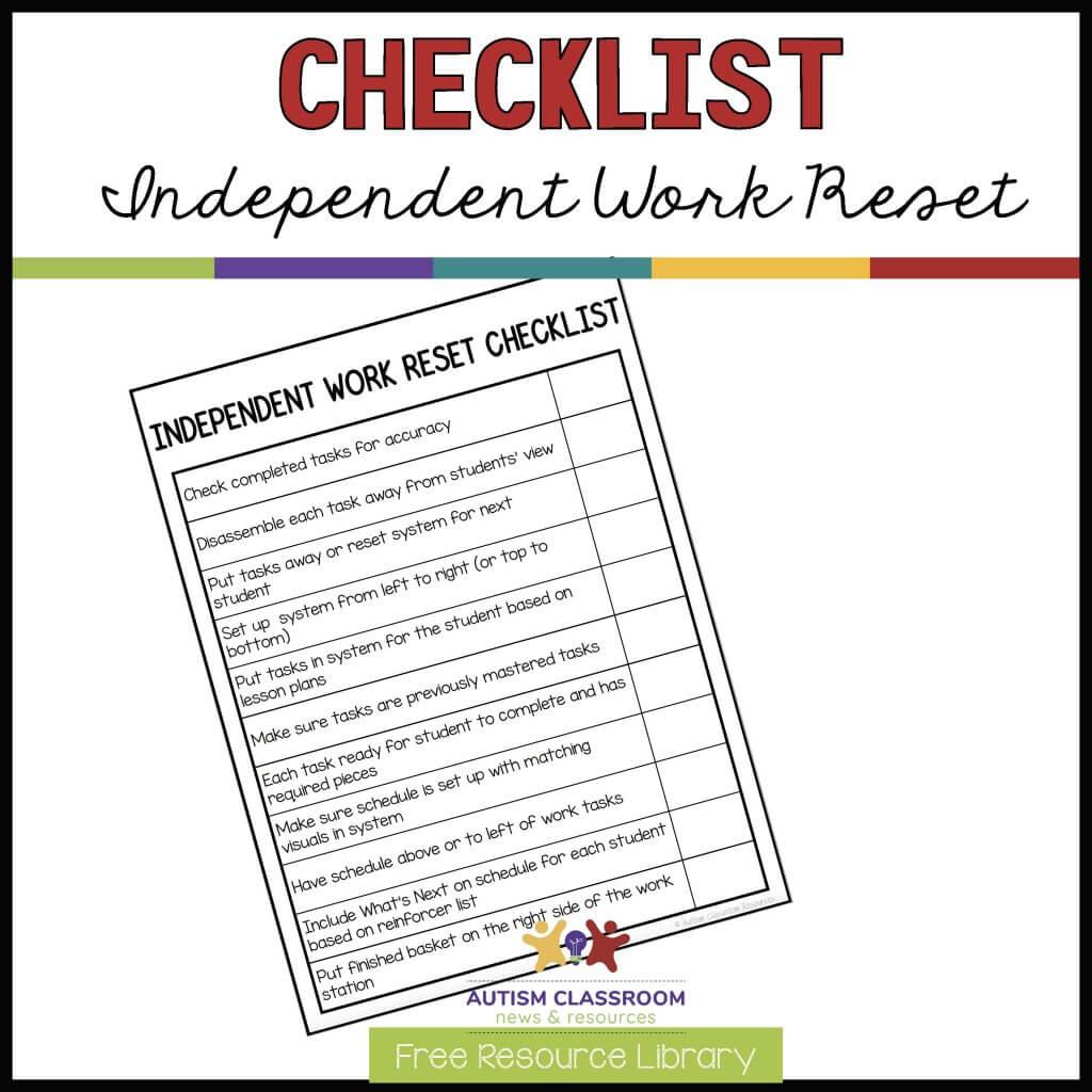 Independent Work Reset Checklist. Free Resource Library