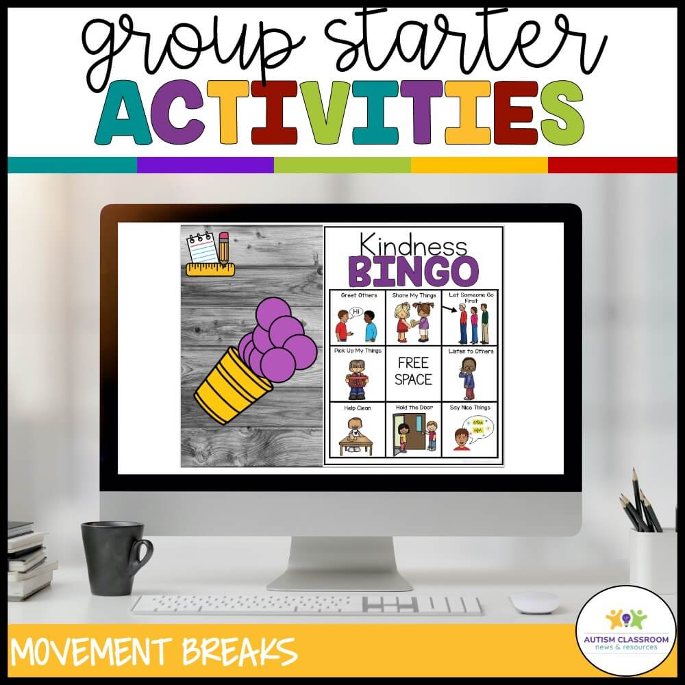 Group starter activities. Kindness Bingo on computer and in print.