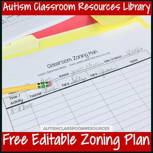 Free Editable Zoning Plan Autism Classroom Resources Library