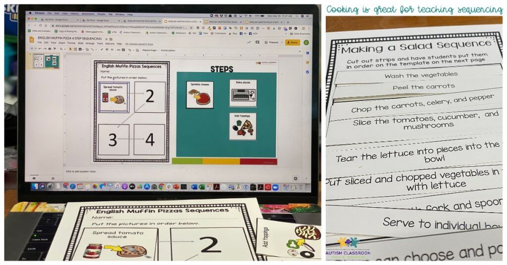 sequencing is a great literacy activity in cooking. Cooking in the classroom Episode 49. Picture includes English Muffin Pizza sequencing with pictures on computer and on paper and Sentence sequencing with tossed salad recipe.