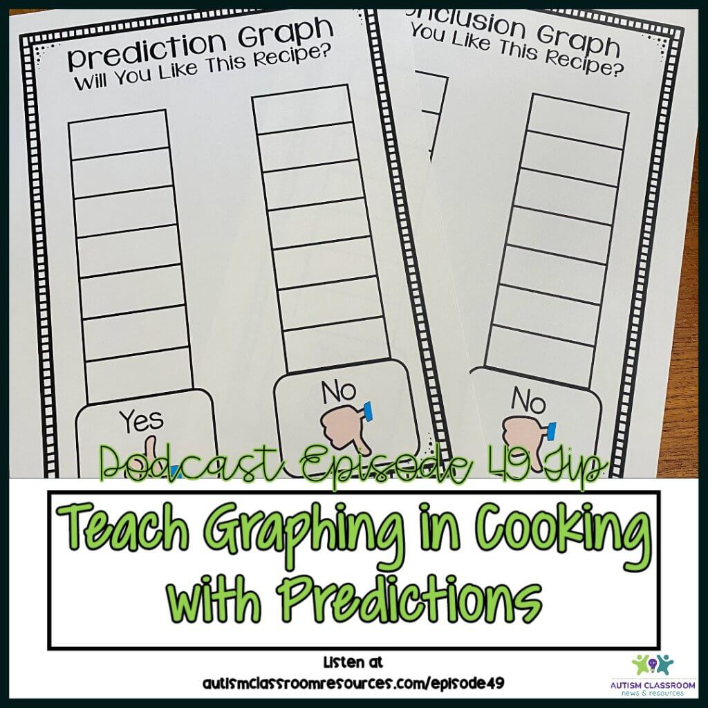 Teach Graphin in cooking with Predictions. Episode 49 tip Autism Classroom Resources Podcast