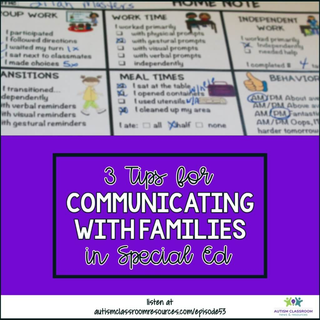 3 Ways for Communicating with Families in Special Ed. Autism Classroom Resources Podcast Episode 53