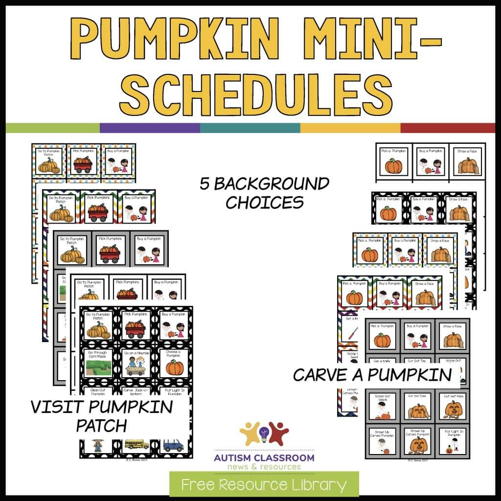 Pumpkin Mini Schedules. Shows 2 sets of mini schedules for carving a pumpkin and for going to the pumpkin patch