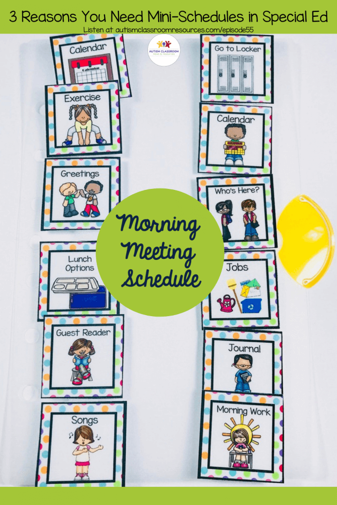 Morning Meeting Mini Schedule. 3 Reasons You Need Mini Schedules in Every Special Ed Classroom. Epipsode 55 Autism Classroom Resources Podcast