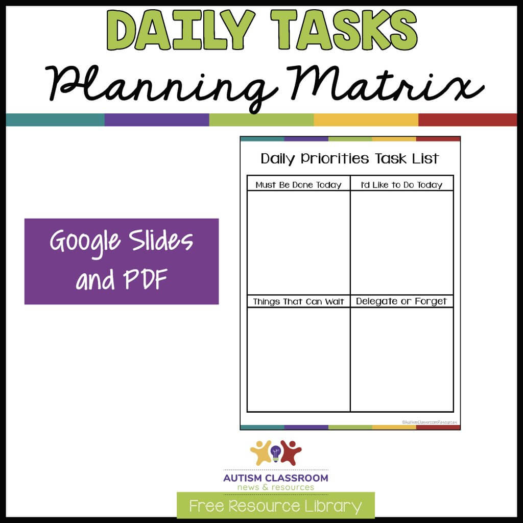 Daily Tasks Planning Matrix in Google Slides and PowerPoint