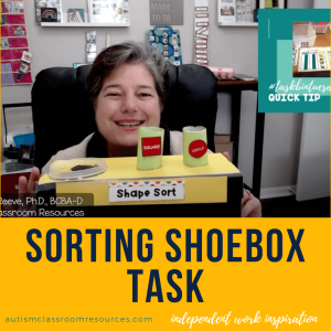 sorting shoebox tasks. independent work inspiration. autismclassroomresources