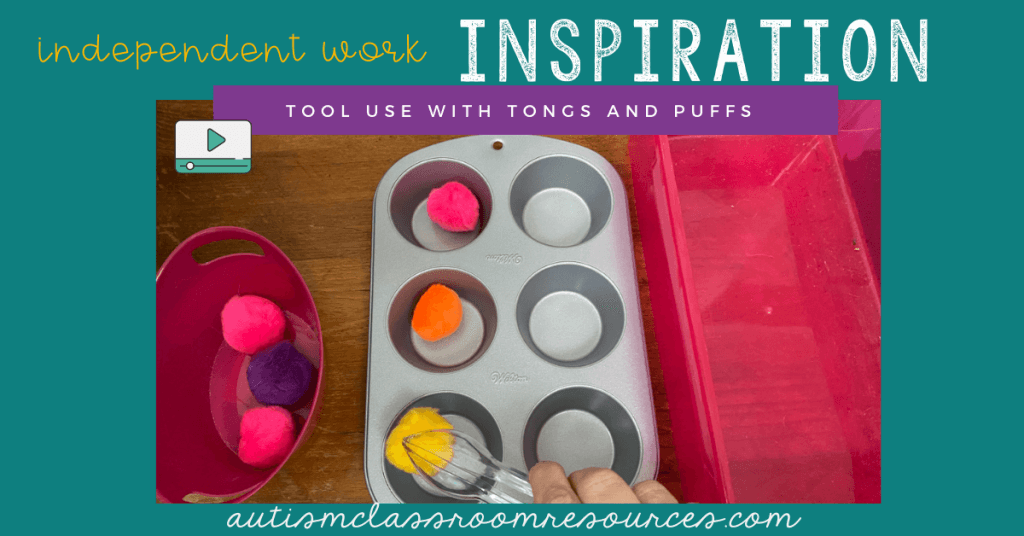Independent Work Inspiration Pom Poms and Muffin Tins