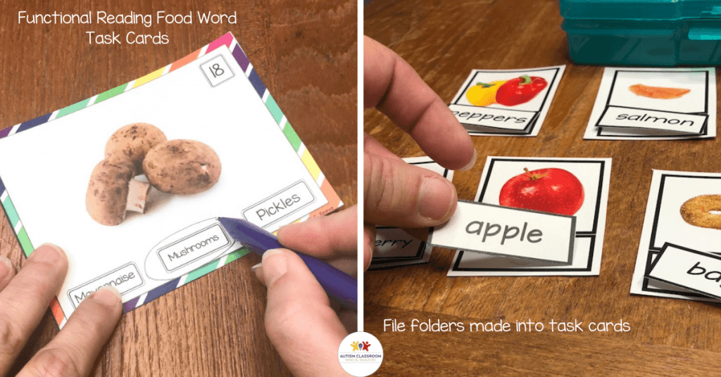 Multiple choice task cards from the Food Word Functional Reading Task Cards and on the right task cards with matching words from the file folders above.