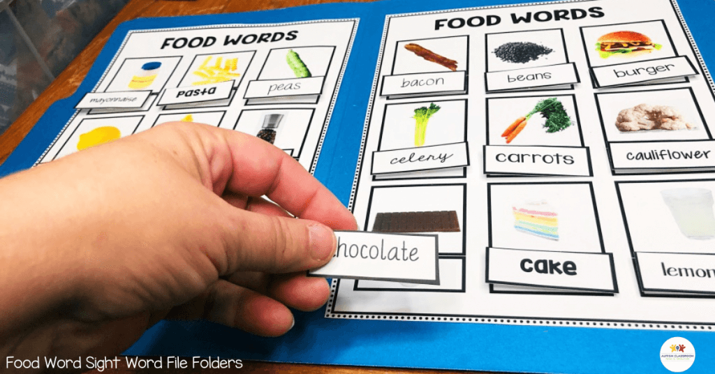 File folder activity matching food words to pictures