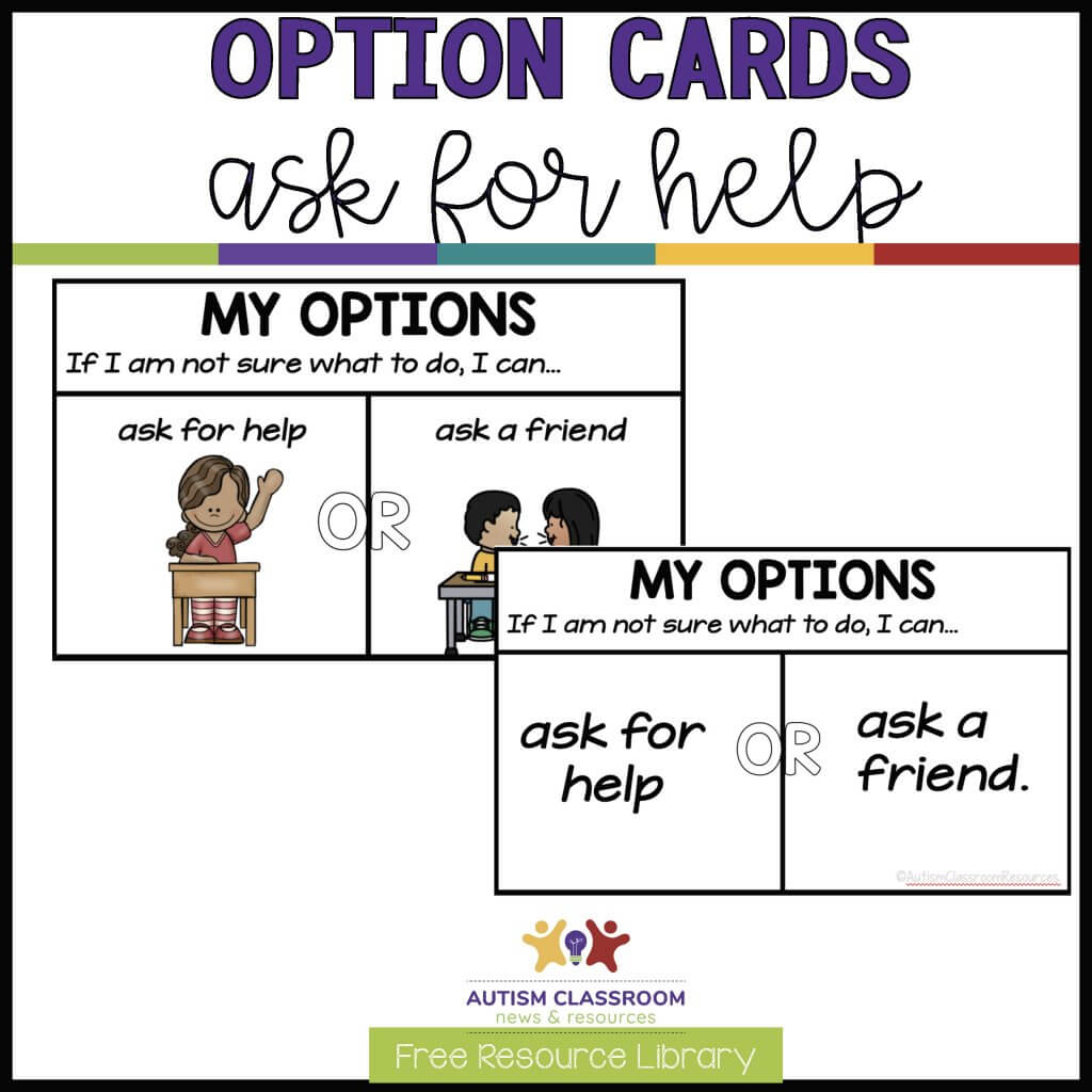 Option cards ask for help