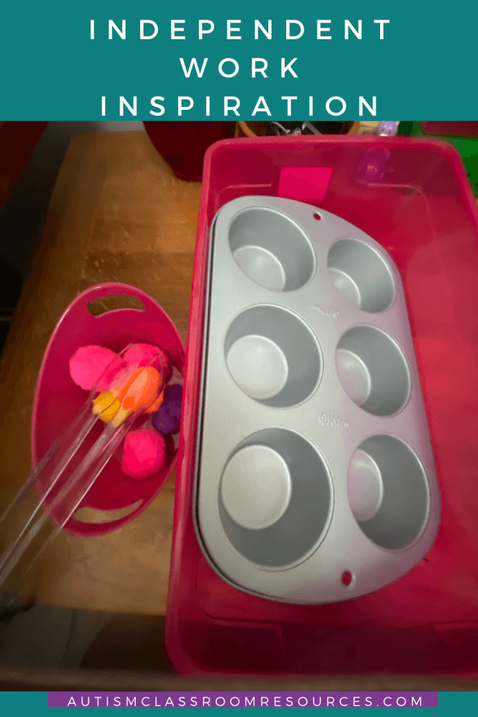 Independent Work Inspiration: Easy Work Task with Pom Poms and Muffin Tins