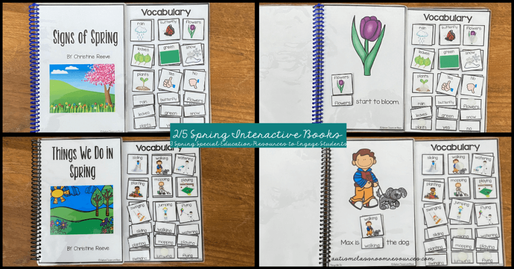 Spring Interactive Books: 3 of set of 5. perfect for literacy, vocabulary instruction, morning meeting, circle, story time and independent work