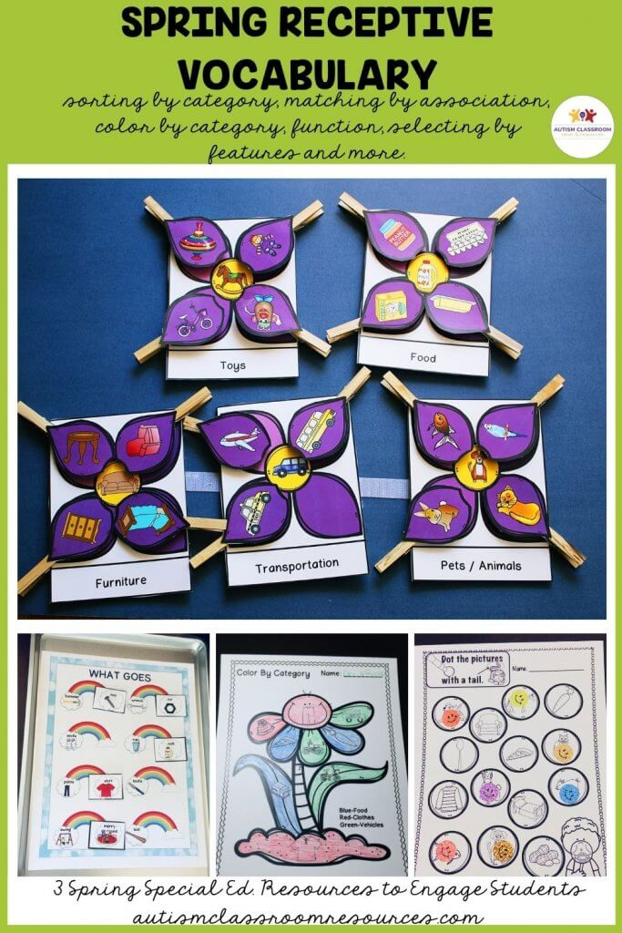 Spring Receptive Vocabulary sorting by category, matching by association, color by category, function, selecting by features and more.