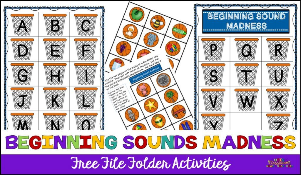 Beginning Sound Madness. File folder with pictures to match beginning letters to pictures