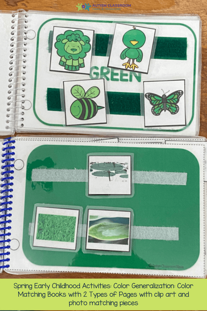 Spring Early Childhood Activities: Color Generalization: Color Matching Books with 2 Types of Pages with clip art and photo matching pieces