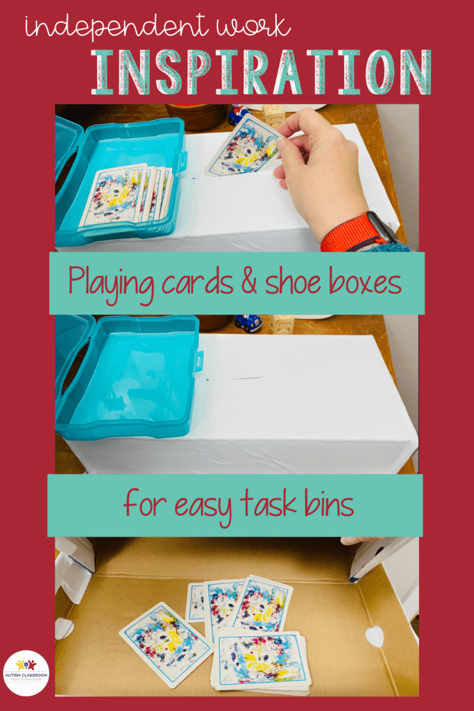 This #IndependentWorkInspiration task is a simple work task designed for beginning learners in special education. Playing Cards and shoe boxes for easy task boxes.