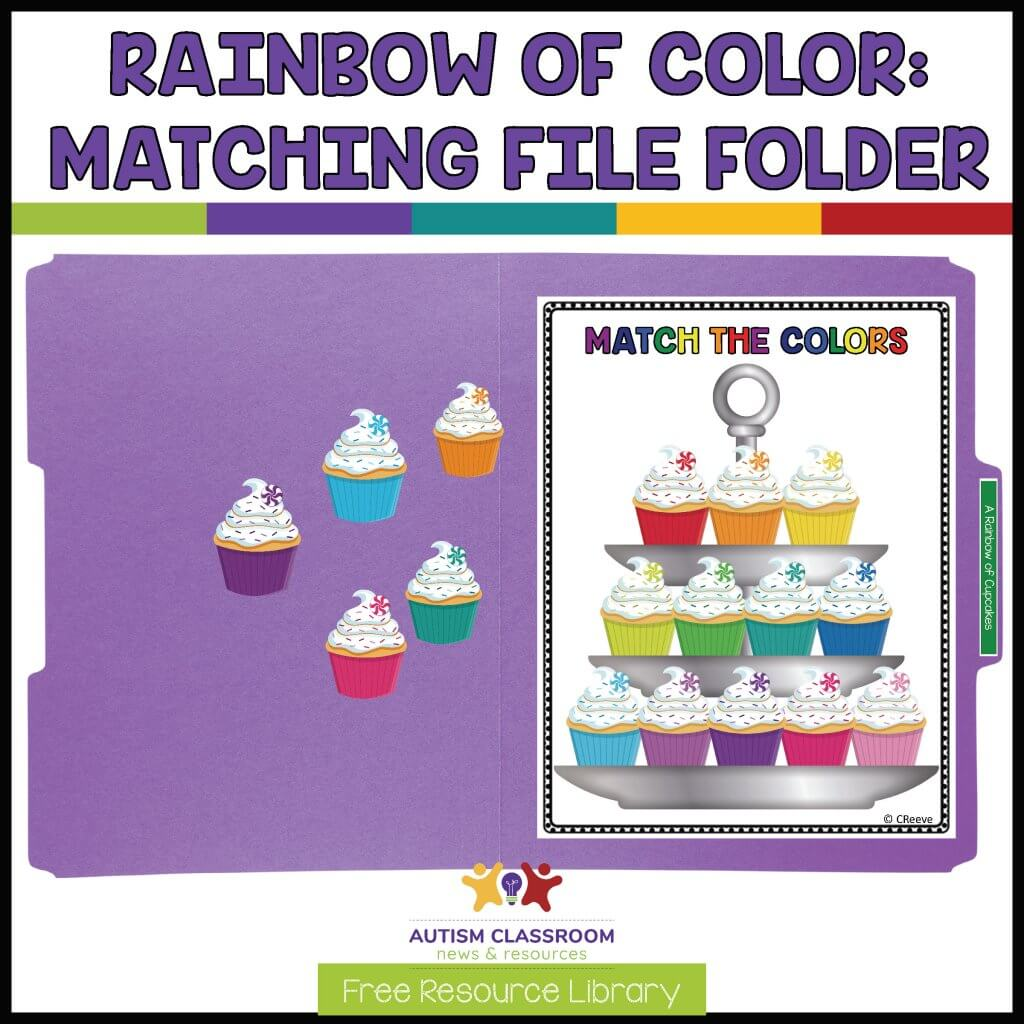 Rainbow of cupcakes Matching file folder from Free Resource Library