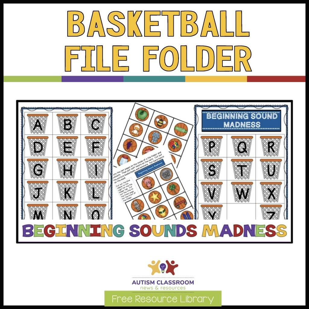 Basketball File Folder for Matching initial sounds of items to letters