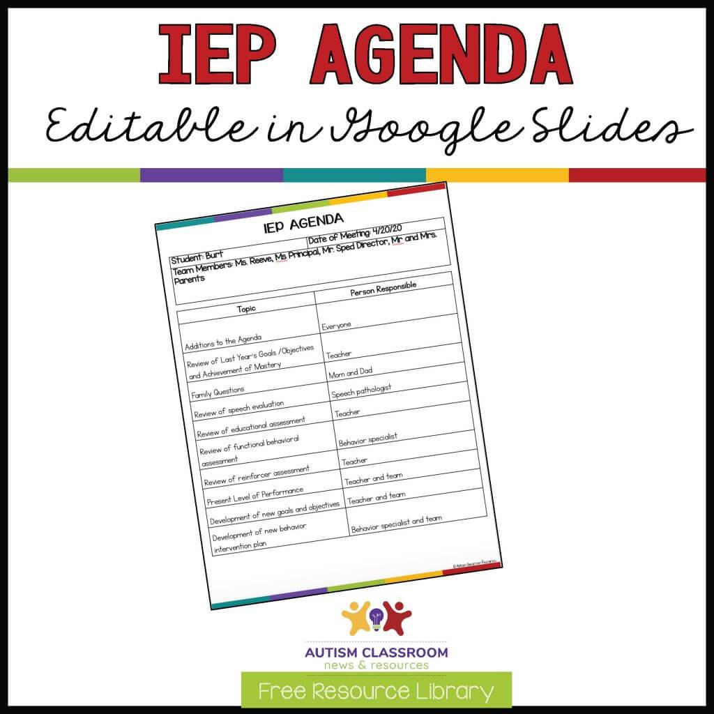 IEP Agenda Editable in Google Slides