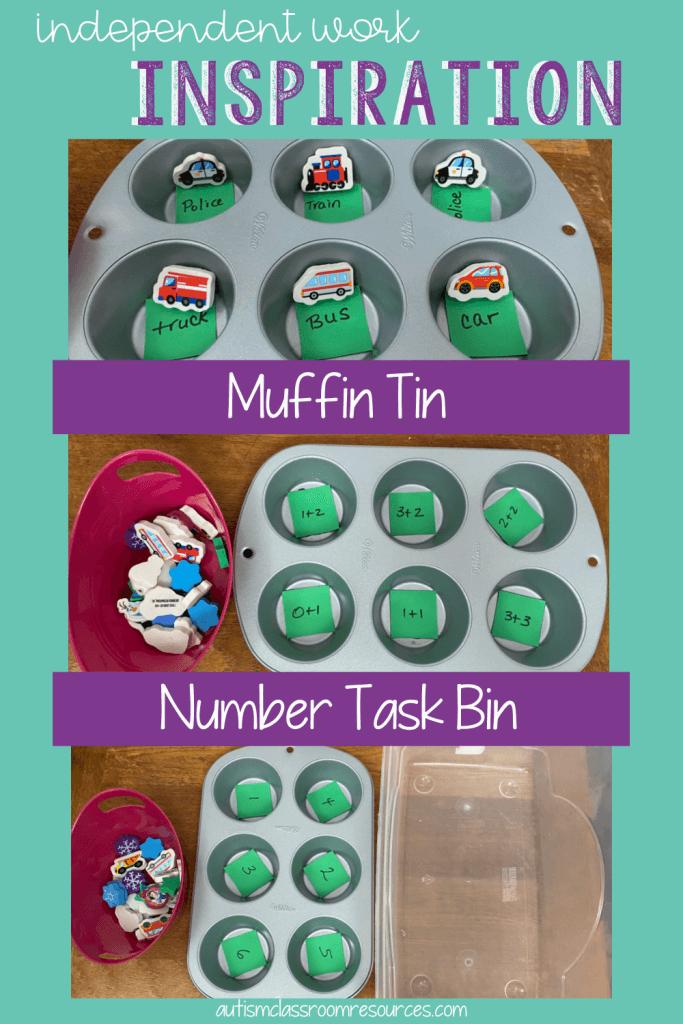 Independent Work Inspiration: Muffin TIn Number Task Bin: Multiple Task Box Ideas